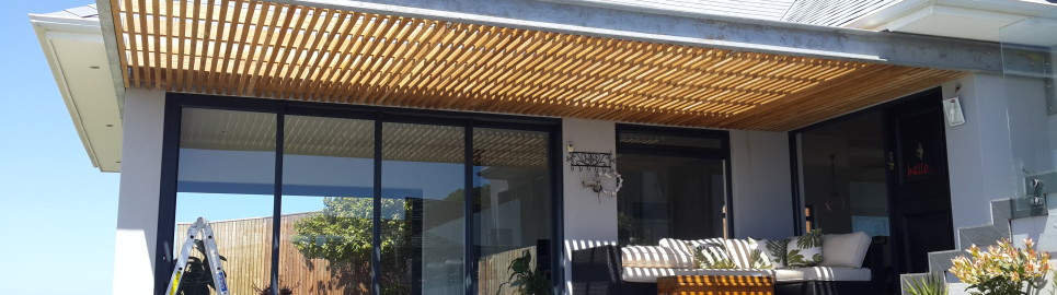 Wonderful Covered Cladocalyx Pergola in Steel frame - Muizenberg - DeckSmiths MB77