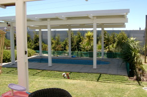 Pine Pergola with pool heating above